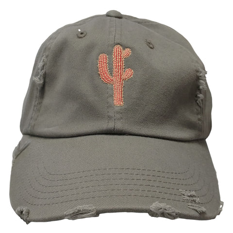 Cactus Embroidered Hat in Olive and Coral