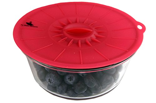 "Silicone Suction Lids Airtight Seal [Set of 6] - Easy To Apply And Remove, Fit Any Round Container With Flat Rim, Great Frying Pan Pot Covers, 6 ProLids (4"",6"",8"",10"",12"",14"") - Cherry Red"