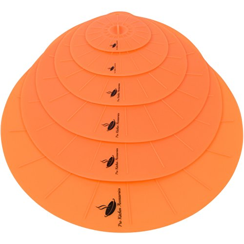 "Silicone Suction Lids Airtight Seal [Set of 6]- Easy To Apply And Remove, Fit Any Round Container With Flat Rim, 6 ProLids (4"",6"",8"",10"",12"",14"") - Orange Peel"