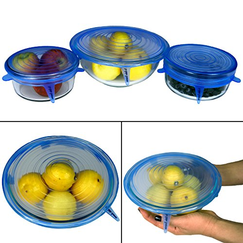 "Silicone Stretch Lids (Set of 8, variety of sizes 7.9"" ,6.3"", 5.5"", 4.3"",3.5"", 3 x 2.6""). The perfect stretchy silicone bowl covers for your kitchen! (Light Blue)"