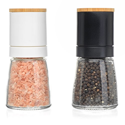 Salt and Pepper Shakers - Salt n Pepper Grinder Set, Adjustable Grind Coarseness, Novelty Beech Wood Lid Design, Best Salt & Black Pepper Grinders, Great Christmas Gift Idea (S&P Beech Wood)