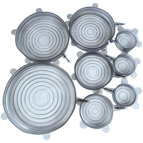 "Silicone Stretch Lids (Set of 8, variety of sizes 7.9"" ,6.3"", 5.5"", 4.3"",3.5"", 3 x 2.6""). The perfect stretchy silicone bowl covers for your kitchen! (Light Grey)"