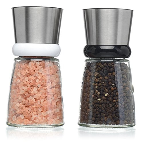 Salt and Pepper Shakers - Salt n Pepper Grinder Set, Adjustable Grind Coarseness, Tilted Base Design, Premium Brushed Stainless Steel Top, Great Christmas Mother's Day Gift Idea (S&P SSteel Tilted)