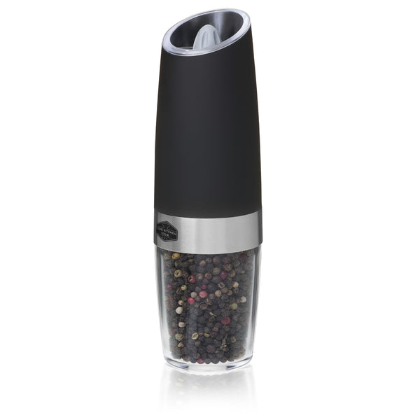 Gravity Electric Pepper Grinder or Salt Mill, Blue LED Light (Black)