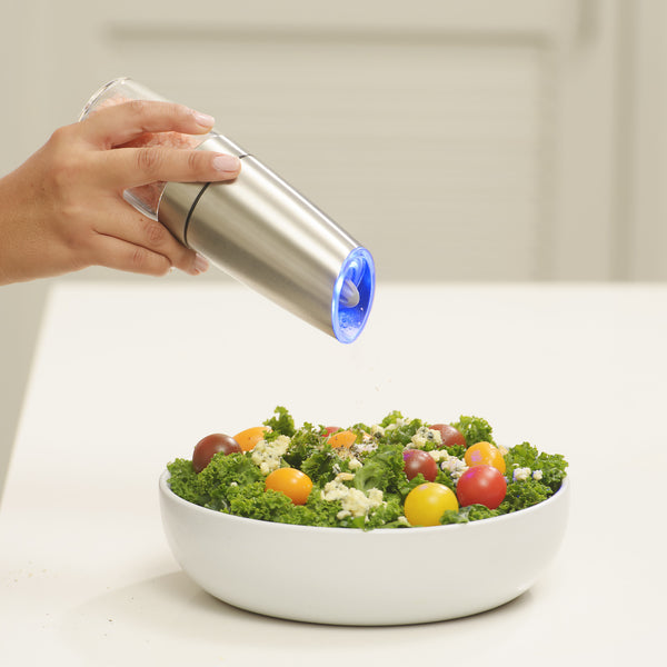 Gravity Electric Pepper Grinder or Salt Mill, Blue LED Light (Stainless Steel)