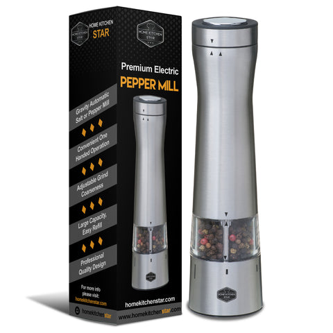 Premium Electric Pepper Grinder or Salt Mill, Bottom LED Light (Stainless Steel)