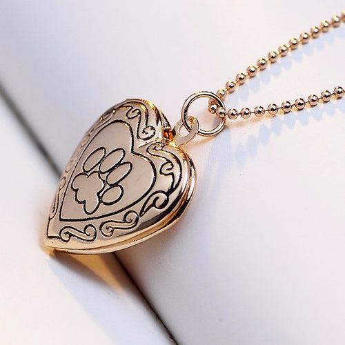 NEW Arrival - Dog Paw Print Heart Locket Necklace