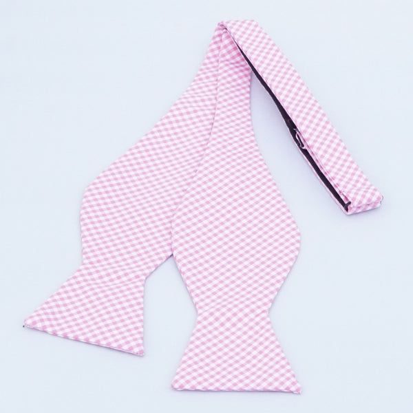 Pink Gingham Bow Tie
