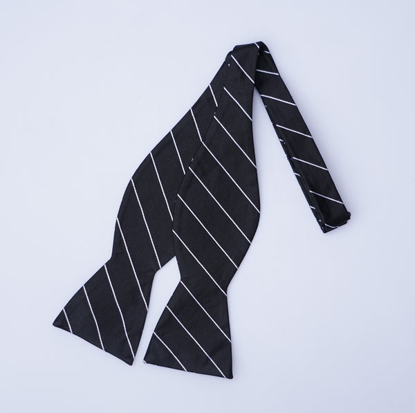 Pinstripe Bow Tie - Black and White