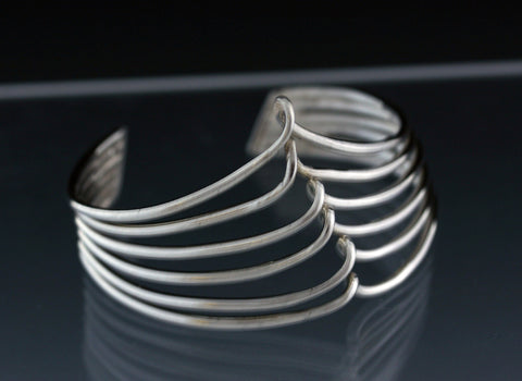 6-Sterling Silver Forged Wire Cuff  Bracelet