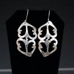 2Hearts Shaped Textured Earrings Complete with Pearl