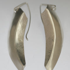 Sterling Silver Earrings Handmade Knife Edge Textured Dangle