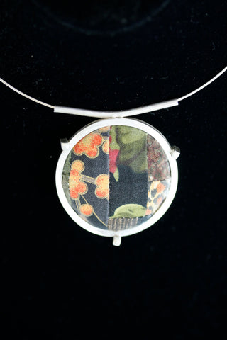 One of a Kind Pattern Handmade Quilt Square Sterling Silver Pendant on Neckring