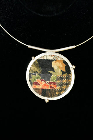Handmade Quilt Square Sterling Silver Pendant on Neckring