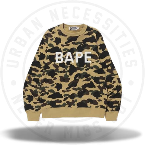 1st camo bape crewneck yellow-Urban Necessities