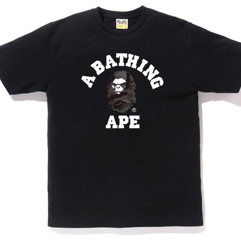 A Bathing Ape Bape Woodland Camo Mad Face College Tee Black-Urban Necessities