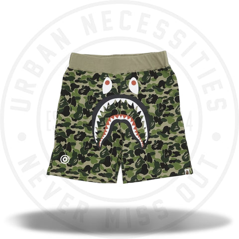 A Bathing Ape Green ABC Camo Shark Sweat Shorts-Urban Necessities