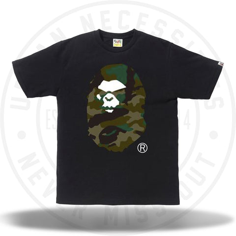 A Bathing Ape Woodland Camo Mad Face Tee Black/Green-Urban Necessities