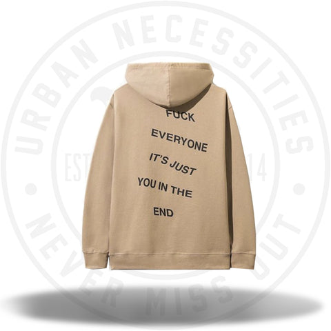 Anti Social Social Club Fuck Everyone Its Just You In The End Sand Hoodie-Urban Necessities