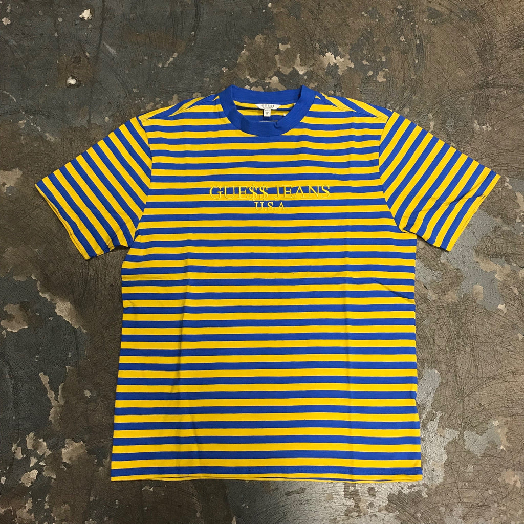 ASAP Guess David 3 Stripe Tee Yellow/Blue-Urban Necessities