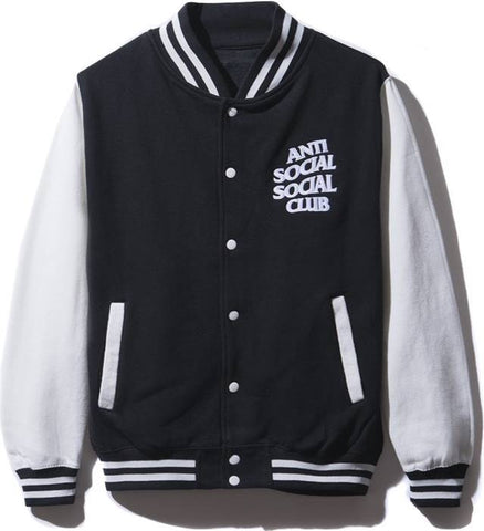 ASSC Anti Social Social Club Dropout Black Letterman Jacket-Urban Necessities