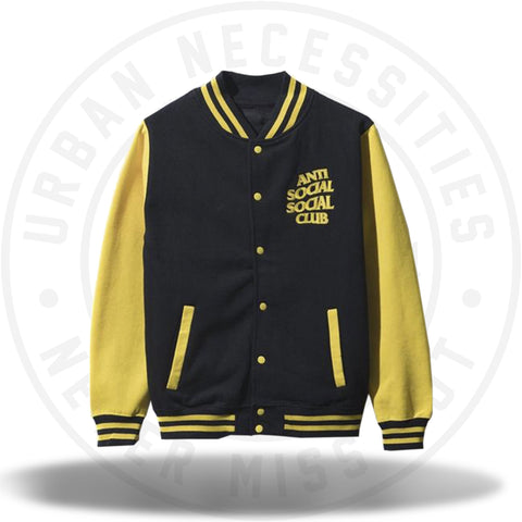 ASSC Anti Social Social Club Dropout Yellow Letterman Jacket-Urban Necessities