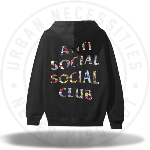 ASSC Anti Social Social Club Flag Black Hoodie-Urban Necessities