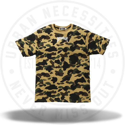 BAPE 1st Camo Bathing Ape Head Tee Yellow-Urban Necessities