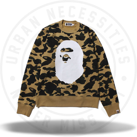 Bape 1st Camo Big Ape Head Crewneck Yellow-Urban Necessities