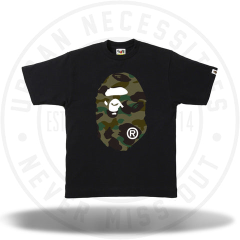 Bape 1st Camo Big Ape Head Tee Black/Green-Urban Necessities