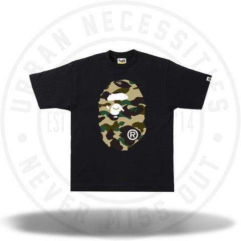BAPE 1st Camo Big Ape Head Tee Black/Yellow-Urban Necessities