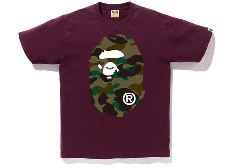 BAPE 1st Camo Big Ape Head Tee Burgundy/Green-Urban Necessities