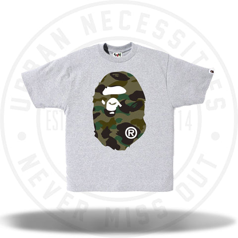 Bape 1st Camo Big Ape Head Tee Grey-Urban Necessities