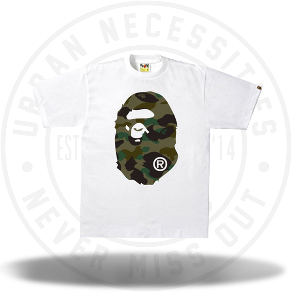 BAPE 1st Camo Big Ape Head Tee White/Green-Urban Necessities