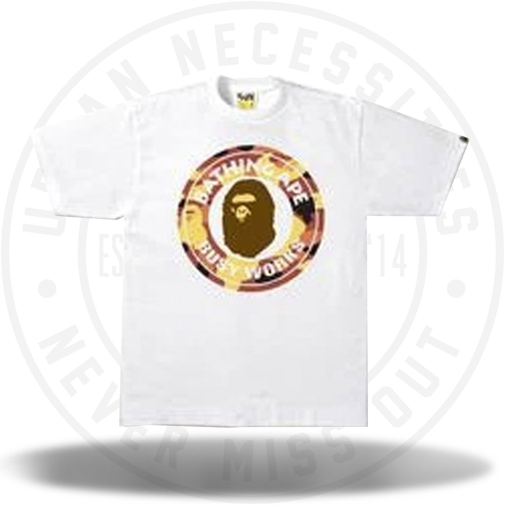 Bape 1st Camo Busy Works Tee White-Urban Necessities