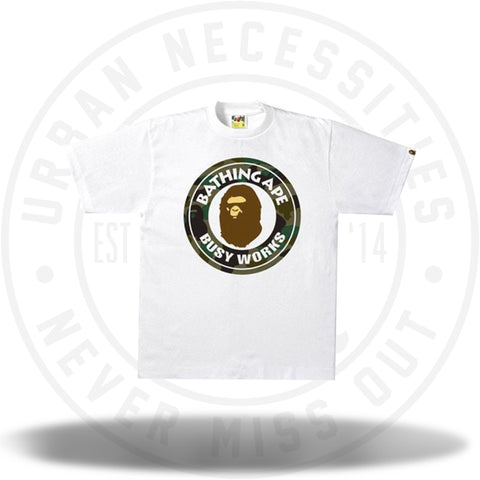 BAPE 1st Camo Busy Works Tee White/Green-Urban Necessities