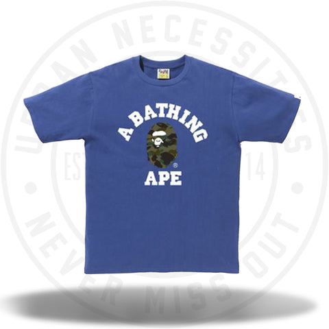 Bape 1st Camo College Tee Blue-Urban Necessities