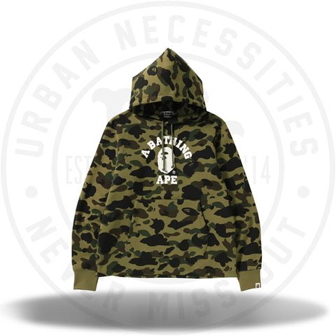 BAPE 1st Camo College Wide Pullover Hoodie Green-Urban Necessities