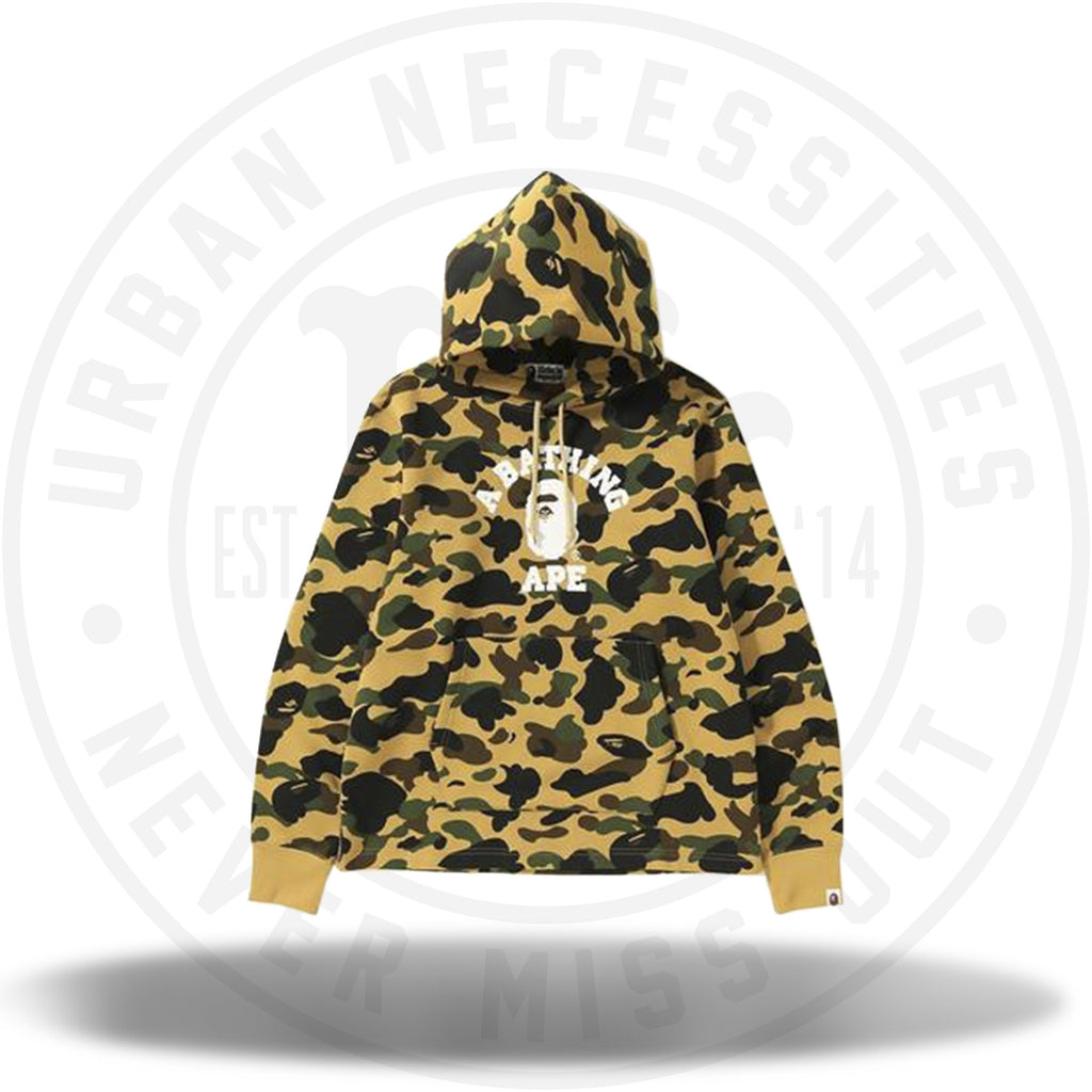 BAPE 1st Camo College Wide Pullover Hoodie Yellow-Urban Necessities