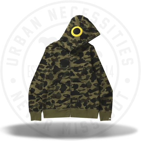 BAPE 1st Camo Fish Full Zip Hoodie Green-Urban Necessities