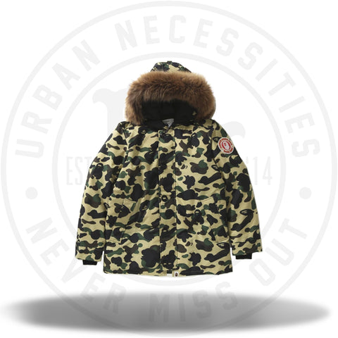 BAPE 1st Camo Fur Down Hoodie Jacket Jacket Yellow-Urban Necessities