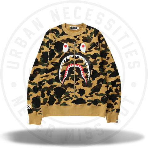 BAPE 1st Camo Metal Zip Shark Crewneck Yellow-Urban Necessities