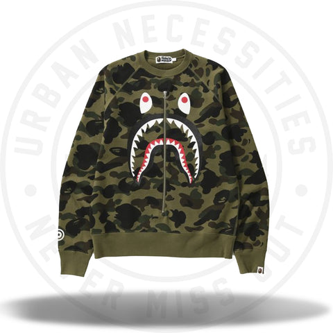 Bape 1st Camo Shark Crewneck Green-Urban Necessities
