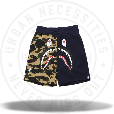 Bape 1ST Camo Shark Sweat Shorts Navy/Green Camo-Urban Necessities