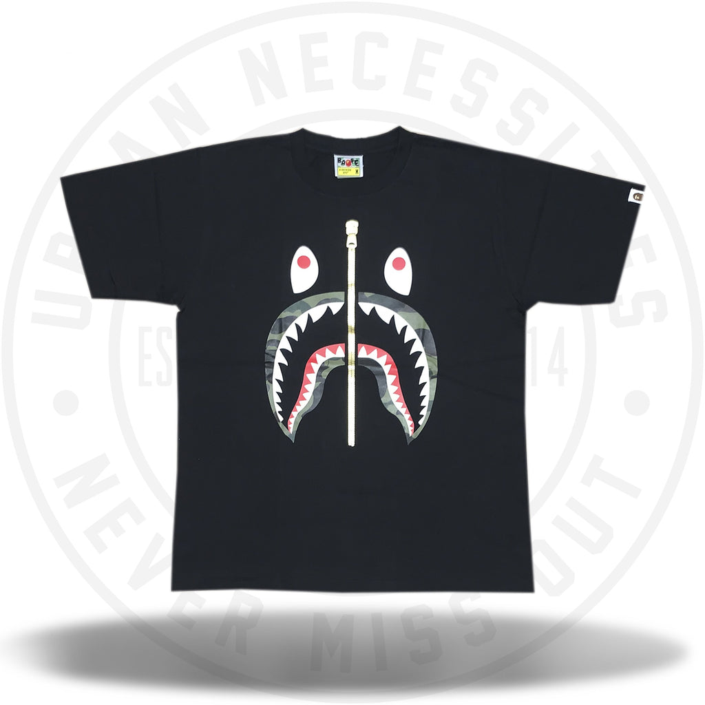 Bape 1st Camo Shark Tee Tee Black/Green With Gold Zipper Graphic-Urban Necessities