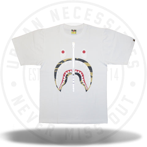 Bape 1st Camo Shark Tee White/Yellow-Urban Necessities
