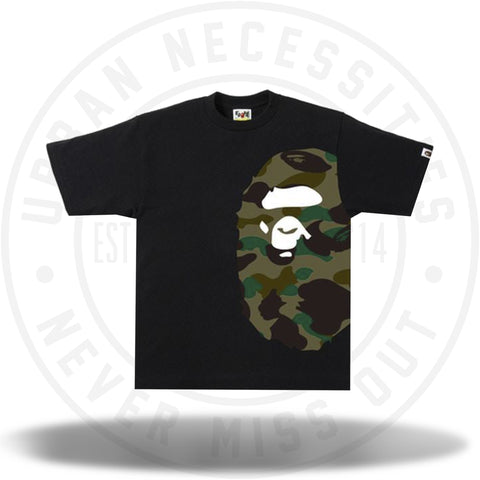 BAPE 1st Camo Side Big Ape Head Tee Black/Olive Drab-Urban Necessities