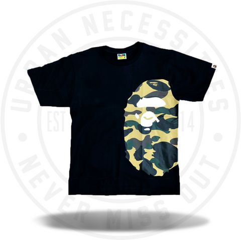 BAPE 1st Camo Side Big Ape Head Tee Black/Yellow-Urban Necessities