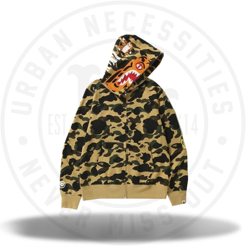 8a8e539a BAPE 1st Camo Tiger Full Zip Hoodie Yellow-Urban Necessities