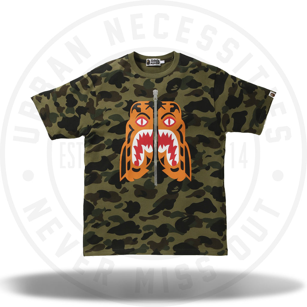 Bape 1st Camo Tiger Tee Green-Urban Necessities